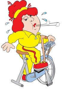 lady wotking out riding bike