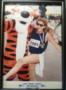 Tigger and me after the 1996 Walt Disney World Marathon. (Tigger didn't run)